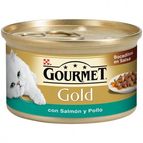 Goumet Gold Bocaditos en Salsa con Pollo y Salmon 85 gr